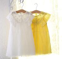 2014 New summer,girls princess dress,children lace floral dress,embroidery,cotton,white/yellow,1-7 yrs,5 pcs/lot,wholesale,1442