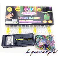 2014 Hot Loom Kits Rubber Bands Bracelet DIY Children Toy Gift 600pcs mix color 24 S clips 1 hook 1 loom board LB-001 Wholesale