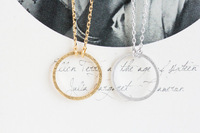 New 18K Gold Silver Circle Pendant Necklace Figure Forever Tiny Round Necklaces  For Women Free Shipping