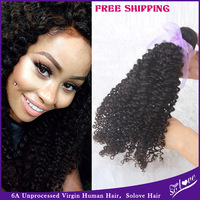 Solove hair product  virgin Mongolian kinky curly 1pc solove hair 6A unprocessed human hair no tangle no shedding hair