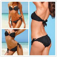 BK114 Women bikini Swimwear  2014 Polka Dot Patterns Bikini Set drop Shipping Brand Quality Ladies Beach Push Up Swimsuit