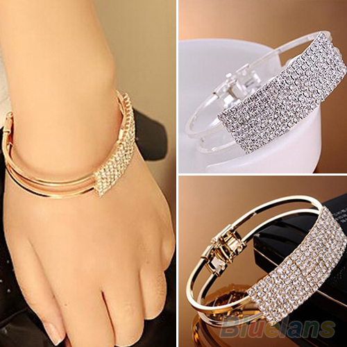 New Fashion Elegant Women Bangle Wristband Bracelet Crystal Cuff Bling Lady Gift Bracelets & Bangles 1O2T(China (Mainland))