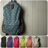 New 2014 Dot Printing Canvas Women Backpack Travel bag School student bag Mochila Bolsas Free shipping