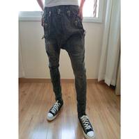 Men's Skull Jeans Low Drop Crotch Denim Jeans Harem Hip Hop Long Pants Slack Baggy Board Shorts Male Hot Sale Size 28-32