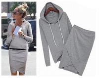 Free Shipping High Quality Cotton Sport Suit Casual Sport Set Tracksuits 2pcs/set (Hoodies +Irregular Skirt ) LSP487LBR