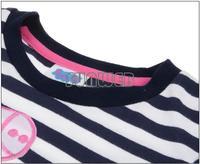 Retail One Pcs!2014 New Girls Kids Long Sleeve Clothes Baby Peppa Pig Clothing Girls Cartoon Striped T Shirt B11 SV004473