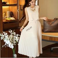 Women's Fashion Slim Elegant Royal Solid sleeveless Back Zipper Belt Long Chiffon Pleated Party Dress Drop Shipping B6 SV003996