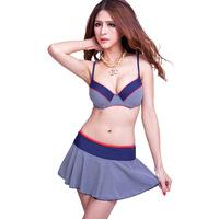 2014 New Sexy Ladies bikinis set swimwear England plaid three-piece bikini swimsuit big breasted skirt big size