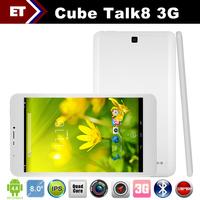 Cube U27gt talk 8 3G quad core Tablet PC 8 inch IPS 1280x800 Phone Call MTK8382 1.3GHz Android 4.4 1GB RAM 8GB WCDMA Bluetooth