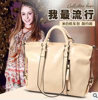 Retro oil wax leather bag for woman motorcycle shoulder bags diagonal europe woman's handbag beige