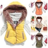 bodywarmer thick woolen liner waistcoat women winter vest,womens vest tops,patchwork PU leather blazer Lady jacket Coat,WOQ