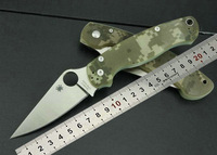 Hot ! Camouflage version OEM Spyderco C81 C81GPCMO2 Para-Military Camping Knife Survival tool Rescure Knives Free shipping