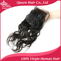 "Queen Hair Products Brazilian Virgin Hair 4""x4"" Lace Closure Natural Wave 8""-16"" Natural Color Swiss Lace Shipping Free DHL"