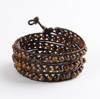 Natural tiger eyes stone bracelet 6MM brown leather cord fashion four laps wrapped free shipping BFWS