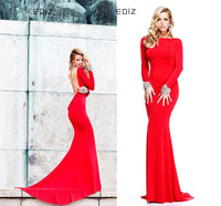 Red dress 2014 Boat Neck Long Sleeve Jewel Hot Cowl Backless Mermaid Long Pageant  Gown Evening Dress Red With Sleeves