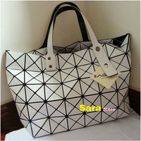 2014 New Arrival Fashion Geometry 8*6 Plaid Big Handbags Women Messenger Bags Shopping Bag Bao Bao Issey Miyake   sku:BG017