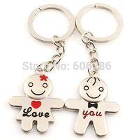 Free shipping 400 Pcs=200pairs/Lot Metal Couple Keychains Zinc Alloy Love Key Chain Key Ring Unique Wedding souvenirs design
