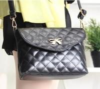 New 2014 Retro Bow Plaid  Women Messenger bag Leather Handbag Lady Small Shoulder bag Cross body bag