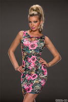 2014 New Summer Dress Women Sleeveless Vintage Floral Printed Dress 9150