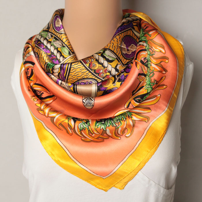 85x85cm 203057 2014 Newest women's Silk Square scarf, Heavy Crepe Satin Plain Square silk Scarves 100% Silk scarf Free Shipping(China (Mainland))
