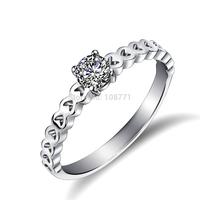 GNJ0562 New Arrival Genuine 925 Sterling Silver Zircon Ring Full Love Heart Women Jewelry For Wedding Free Shipping Wholesale