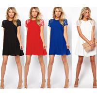 New 2014 summer autumn sexy women clothing lace short sleeve white black chiffon casual dress Plus size S-XXL LL0068