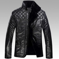 2014 Winter Men'S Senior Thick Fur Leather Jacket Fashion Chinese Brand Casual Warm Cashmere Leather Jacket Cotton GG63