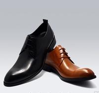 Genuine Leather 2014 New Arrive Gentleman Footwear Mens Point Toe Dress Wedding Shoes Gothic British Style Black Brown Chestnut