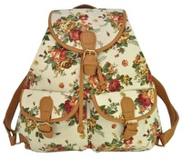 4 Colors Vintage Print Drawstring Women Backpack Unique Flower Vintage Canvas Backpack Woman Kanken Small School Mochila