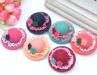 Wholesale Hot Products(40 pcs\ lot) Korean Children Headdress \ Lace Hat 3D Flowers Hairpin