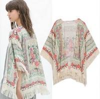 fashion women Spain style chiffon kimono cardigan tassel Regular Floral print blouse/mujer ropa camisas femininas blusas de gasa