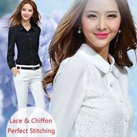 2014 New Fashion Brand Women Spring Summer White Chiffon Lace Blouse Ladies Casual Blouse Blusas Free Shipping