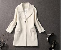 New long wool winter women coat Elegant V Neck  plus size woollen desigual coat cashmere casacos femininos 2014, veste femme