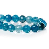 (Grade B) Natural Agate Gem stone Loose Beads Ball Round Green White Faceted 6mm Dia,37.3cm long,1Strand(62PCs) (B34111)8seasons