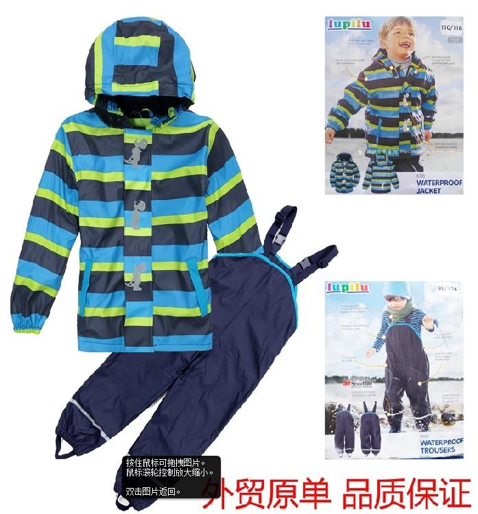 Lupilu for 3m PU leather fabric fleece child raincoat rain pants bib pants 86cm-104-128cm kid rain jacket water proof bib pants(China (Mainland))