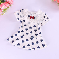 Free shipping 2014 brand short-sleeved T-shirt dress baby girl summer dress clothes baby clothing baby dress