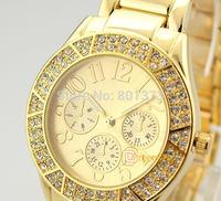 Free shipping 1pcs Fashion Women Lady Luxury Diamond Fashion WRIST Round Dial watch golden in stock now