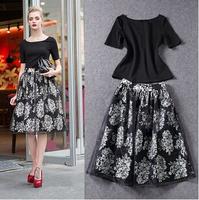 2014 new fashion European 2 piece bandage dress chiffon floral sexy club dresses Short sleeve women summer dress black vestidos