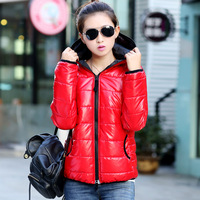 2014 New autumn and winter wadded jacket female cotton-padded jacket women's glossy with a hood thickening cotton-padded jacket