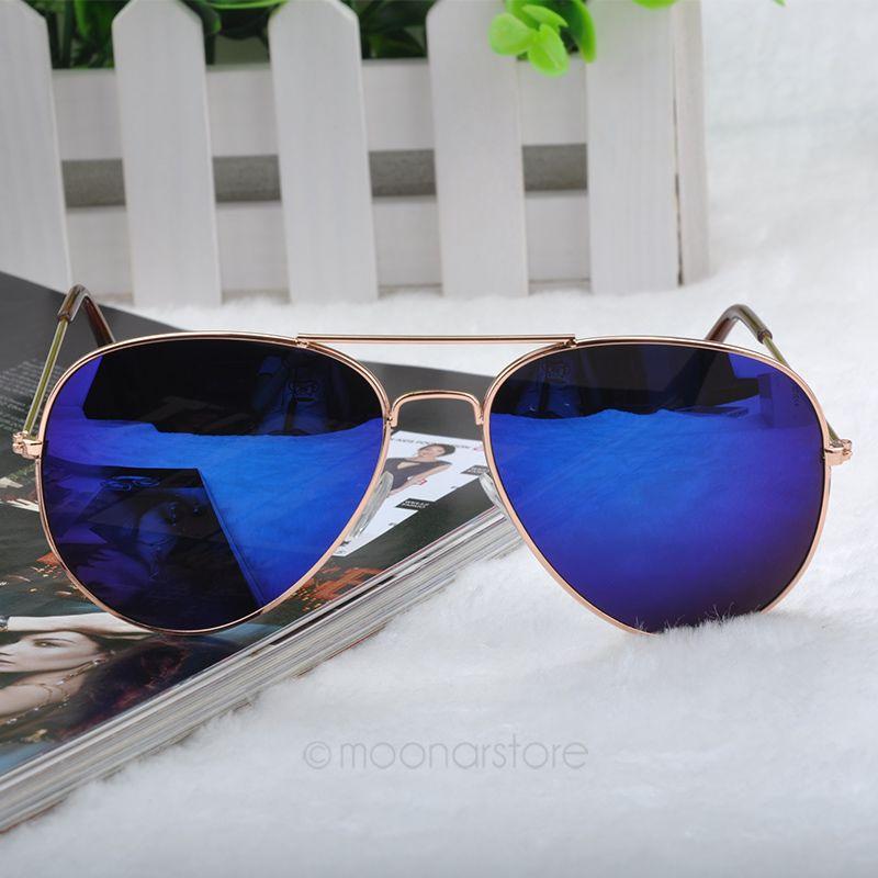 2014 New Fashion sun glasses Goggle AVIATOR Metal Eyewear Bat Mirror UV Protection Multi Color for Unisex 2X MHM041#M2(China (Mainland))