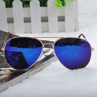 2014 New Fashion sun glasses Goggle AVIATOR Metal Eyewear Bat Mirror UV Protection Multi Color for Unisex 2X MHM041#M2