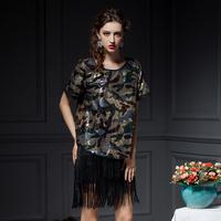 YIGELILA 7218 Latest Summer Customized New In Camo Paillette Short Sleeve Fashion T-Shirt Women Free Shipping