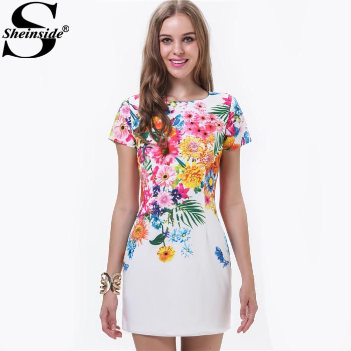 Sheinside Women Fashion White Short Sleeve Florals Print Dress(China (Mainland))