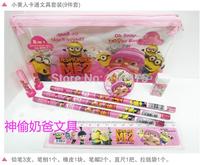 Hot Sale !!! Wholesale Children Stationery set Despicable Me 2 Pencil Case Yellow one Cartoon Stationery Set  8PCS
