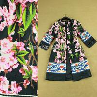 2014 autumn fashion elegant 3/4 sleeve black sequins print trench coat XXL