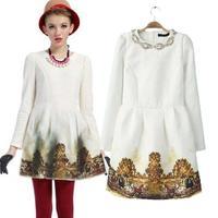 2013 new European style beaded sequins figure landscape printing bottoming long-sleeved jacquard dress women dress temperament