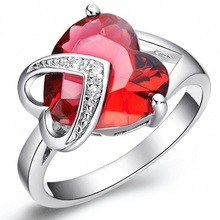 Romantic Christmas Love Gift Female Ring Fashion Accessories Real Platinum Plated Heart Shaped Cut Ruby Ring CRI0046-B