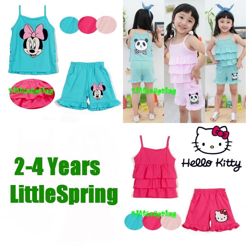Retail 2-4 Years Girl Kids Sets Tank top girls Suit Kit Kitty And Panda Cartoon Children Summer Clothing Sets Little Spring(China (Mainland))