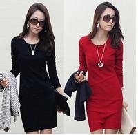 Plus Size XXXL  Free Shipping Drop Shipping 2014 Autumn Winter Women Cotton Long-sleeve Anti-wrinkle OL Female One-piece Dress