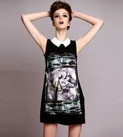 Europe Style Womens Peter Pan Collar Horse Print Little Black Dress Sleeveless Chiffon Tank Dress Plus Size Slim Cute Mini Dress
